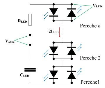 Figura 2. Alimentare LED-uri de la o sursa de tensiune alternativa
