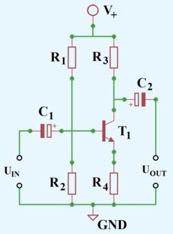 Figura 1. Schema amplificator cu un tranzistor bipolar (in conexiune emitor comun)