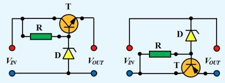 Figura 3. Stabilizator serie cu tranzistor si dioda Zenner - Hobbytronica