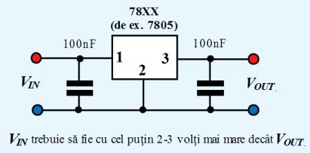 Figura 5. Schema de lucru a stabilizatoarelor de tensiune liniare din seria 78XX - Hobbytronica