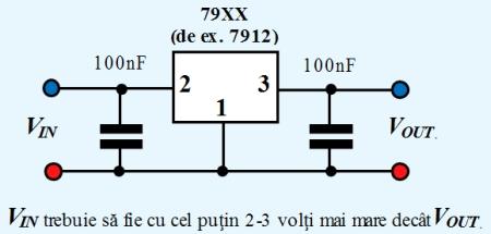 Figura 6. Schema de lucru a stabilizatoarelor de tensiune liniare din seria 79XX. - Hobbytronica
