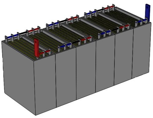 Figura 2. Structura unei baterii auto (acumulator cu plumb) - Hobbytronica