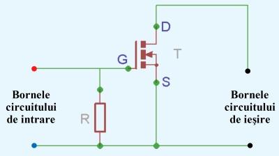 Figura 3. Schema releu static construit cu un tranzistor MOS-FET - Hobbbytronica
