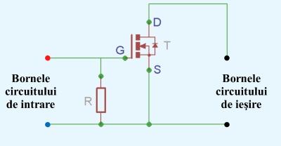 Figura 4. Schema releu static construit cu un tranzistor MOS-FET frecvent intalnit in comert - Hobbbytronica