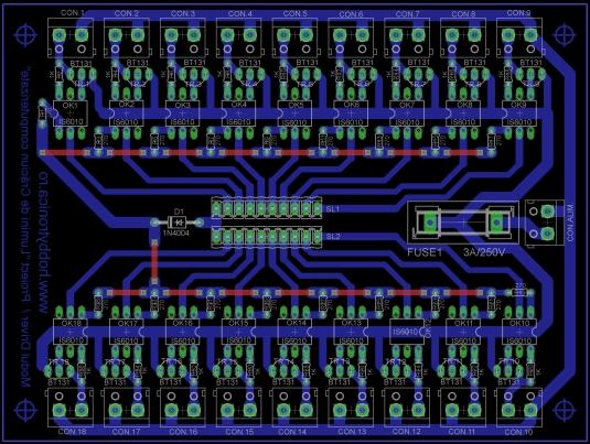 Figura 3. Layout-ul cablajului pentru modulul driver.