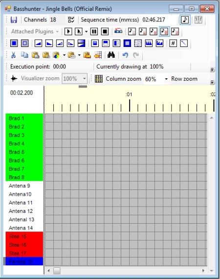 Figura 10. Vixen Lights 2, fereastra de editare si rulare a unei secvente de lumini sincronizate cu o piesa muzicala - Hobbytronica