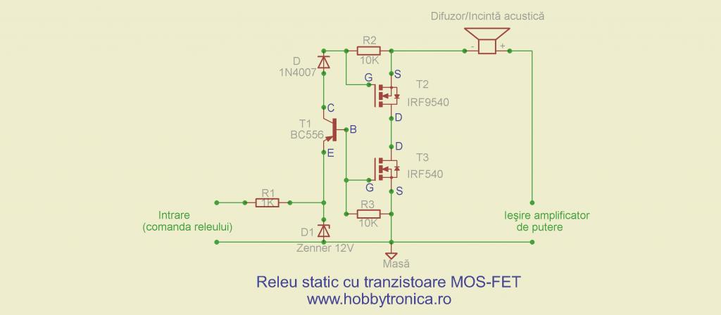 Releu static cu tranzistoare MOS-FET destinat circuitelor de protectie a difuzoarelor si incintelor acustice - Hobbytronica