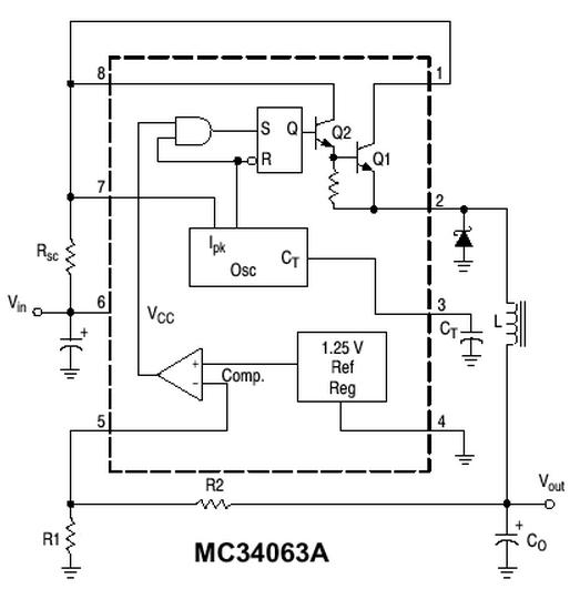 Figura 1. Schema bloc a unui convertor DC-DC buck (coborator) cu circuit integrat MC34063 - Hobbytronica