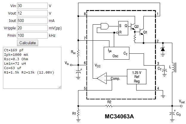 Figura 2. - Exemplu de calcul al unui  convertor DC-DC buck (coborator) realizat cu MC34063 - Hobbytronica