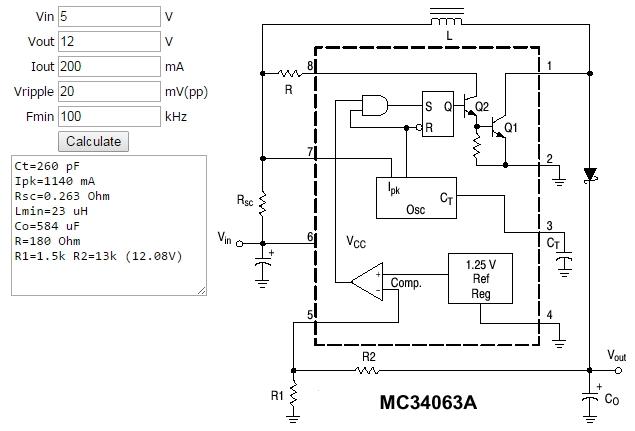 Figura 3. - Exemplu de calcul al unui  convertor DC-DC boost (ridicator) realizat cu MC34063 - Hobbytronica