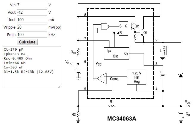 Figura 4. - Exemplu de calcul al unui  convertor DC-DC de tip invertor realizat cu MC34063 - Hobbytronica